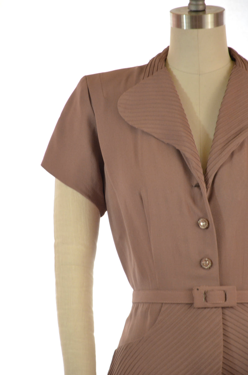 Smart Late 40s Peplum Dress in Mocha Rayon Crepe with Pintucks