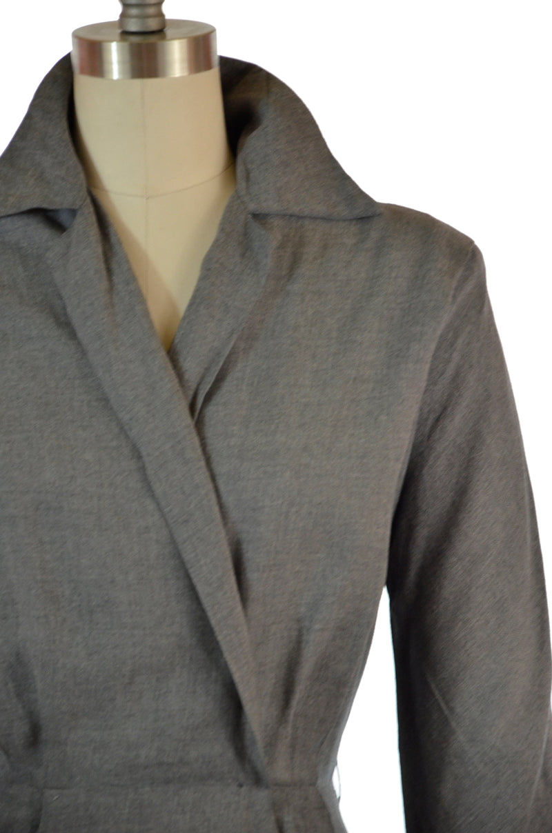 Layaway Deposit for Chic Postwar 1940s Grey Heathered Gabardine Day Dress with Faux Wrap Styling