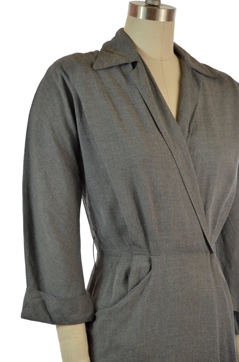 RESERVED on Layaway Chic Postwar 1940s Grey Heathered Gabardine Day Dress with Faux Wrap Styling