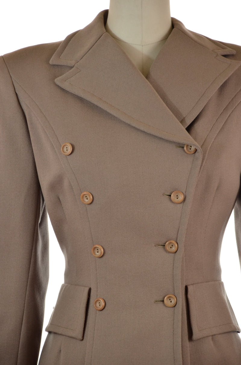 Exceptional 1940s Tailored Western Suit in Wool Whipcord and Adjustable Skirt