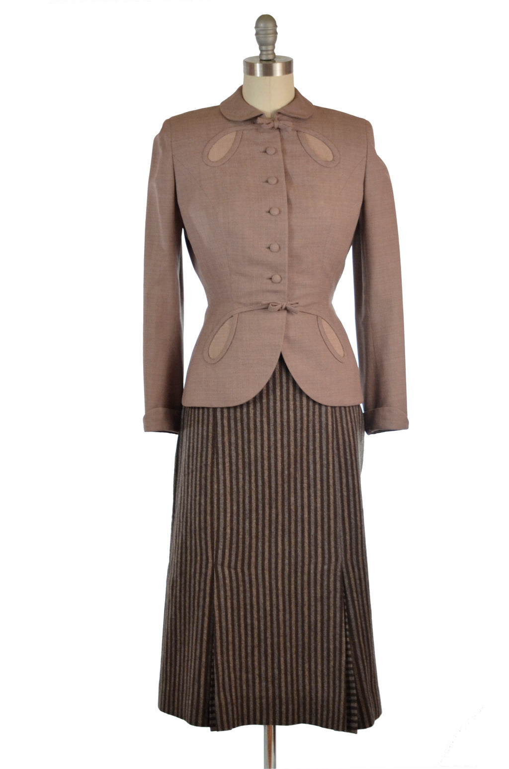 Smart 1950s Wool Skirt in Tri-Tone Stripes with Original Belt