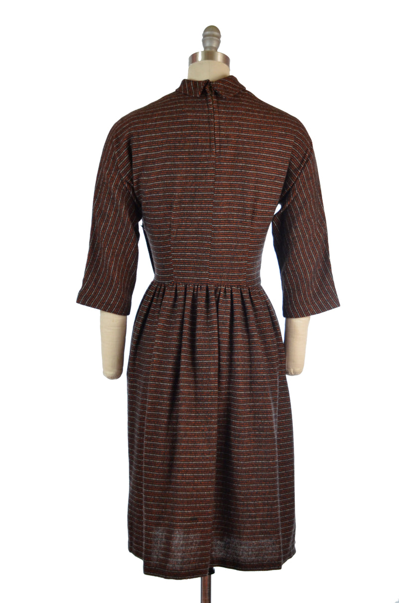 Fantastic 1950s Striped Woven Wool Day Dress with Chevron Neckline and Full Skirt