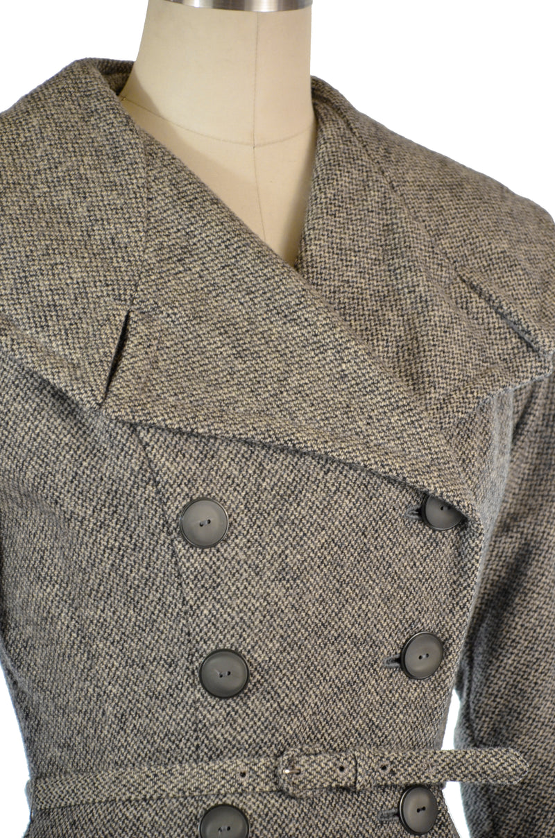 Fantastic 1950s Double Breasted Coat Dress in Woven Grey Woven Wool with Massive Collar