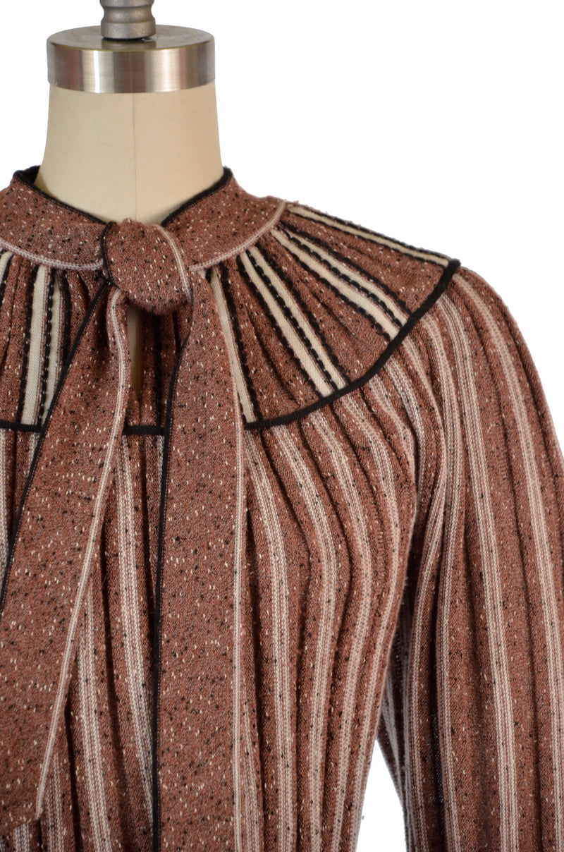 Exceptional Late 70s Does 30s Knit Sweater dress in Tri-Color Ombre with Amazing sleeves