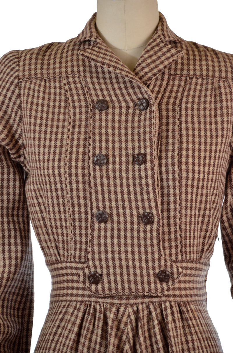 Wonderful Late 1930s Wool Checkered Plaid Sportswear Dress with Full Cut Sleeves