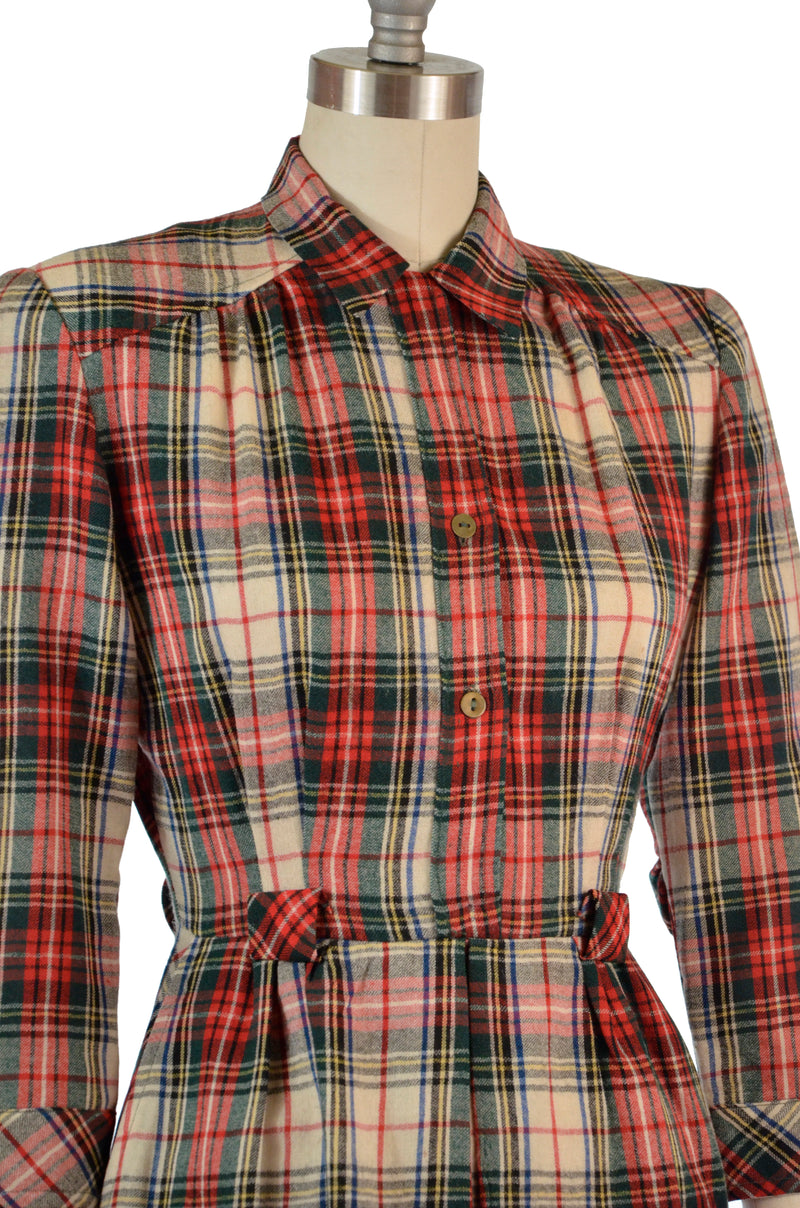 Smart 1940s Wool Plaid Day Dress by June Bentley Juniors