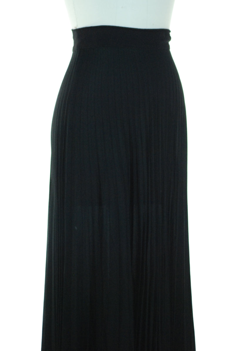 Elegant 1930s or 40s Full Length Perma Pleated Rayon Crepe Evening Skirt