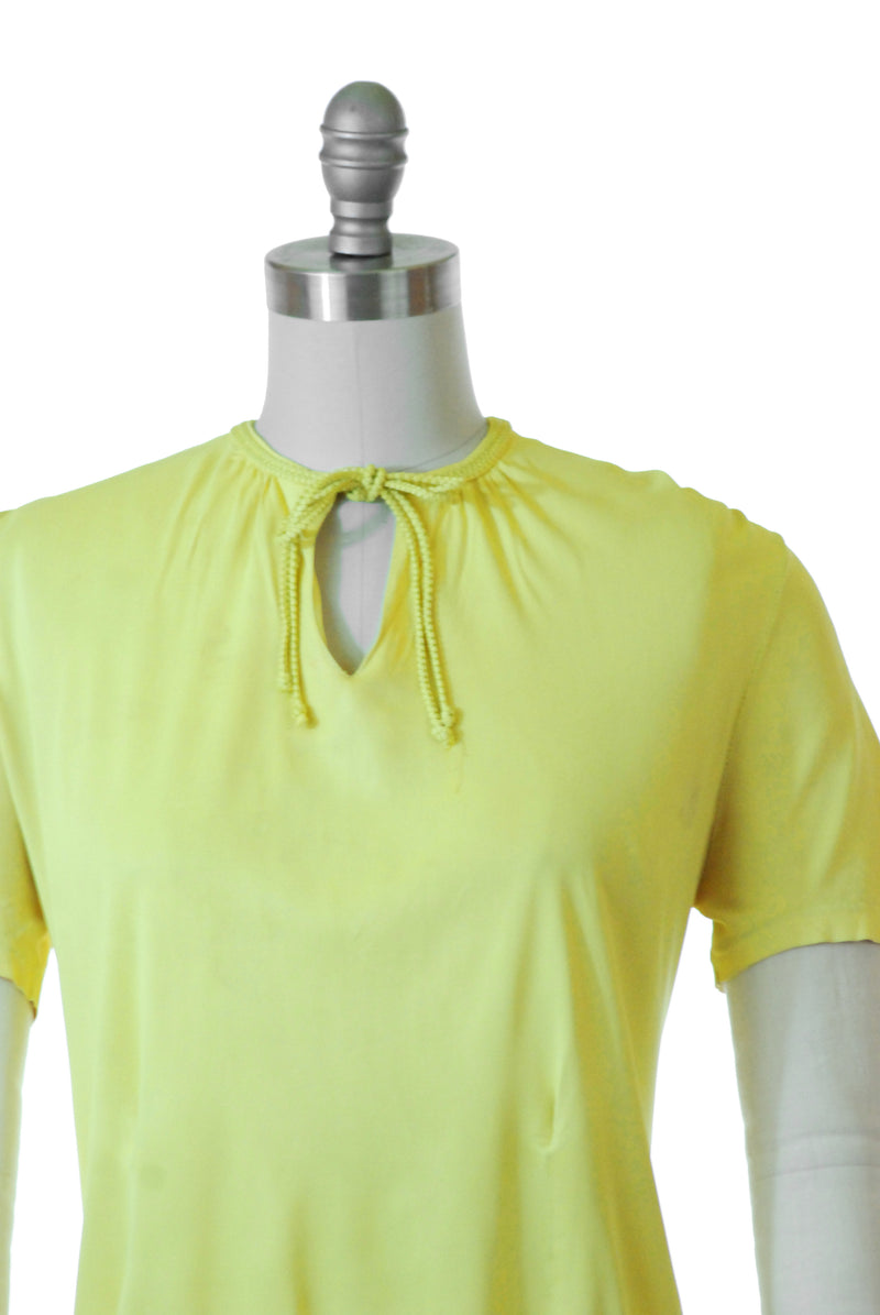 1940s Jersey Top of Chartreuse Rayon-Celanese with Neckties