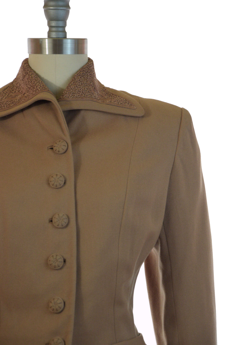 Rich 1940s Camel Colored Wool Suit with Soutache Accented and Gored A-Line Skirt
