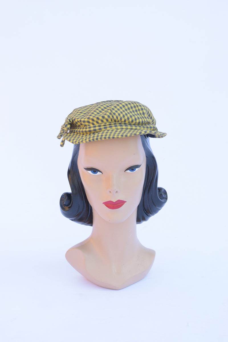 Smartest 1940s Cap in Yellow and Grey Plaid with Bow
