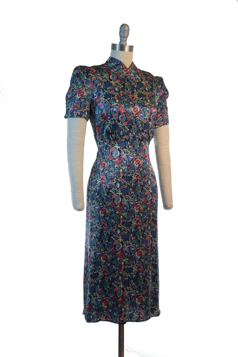 Liquid Late 1930s Printed Satin Day Cocktail Dress with Swirling Abstract Print