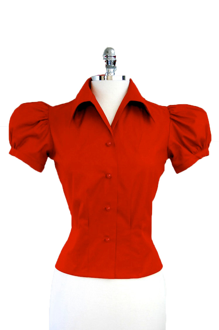 Jitterbuggin 1940s Style Reproduction Roseway Blouse in Painter's Palette