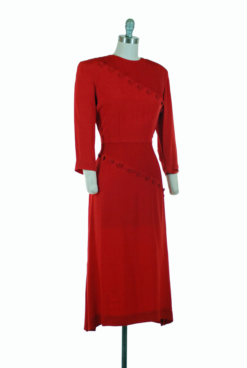 Smart 1940s Day Dress of True Red Rayon Crepe with Buttons and Pintuck Details