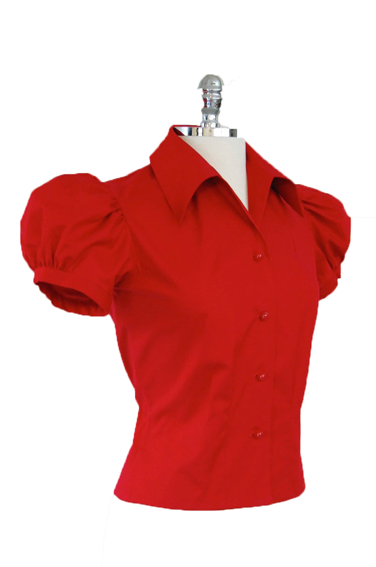 Jitterbuggin' Late 1930s Style Puff Sleeve Nicolai Blouse in Ruby Red