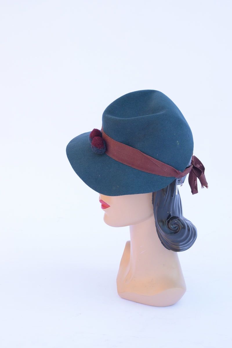 Charming 1940s Home-Millinery Teal Fedora-Inspired Tilt Hat with PomPoms