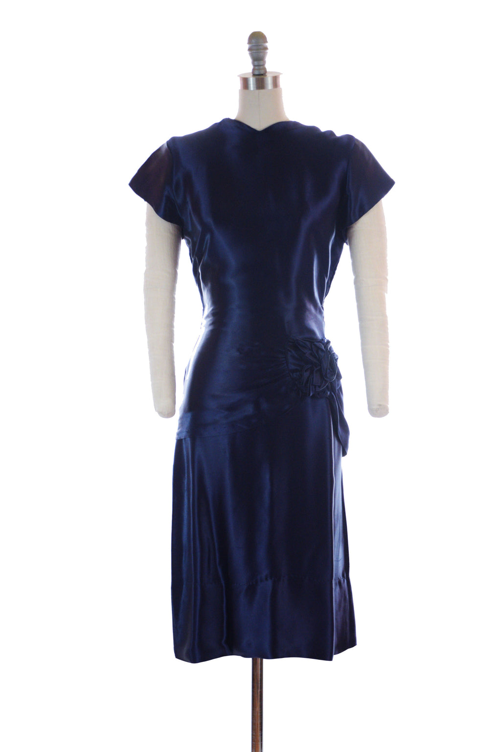 Liquid 1940s Femme Fatale Midnight Blue Satin Draped Two Piece Ensemble