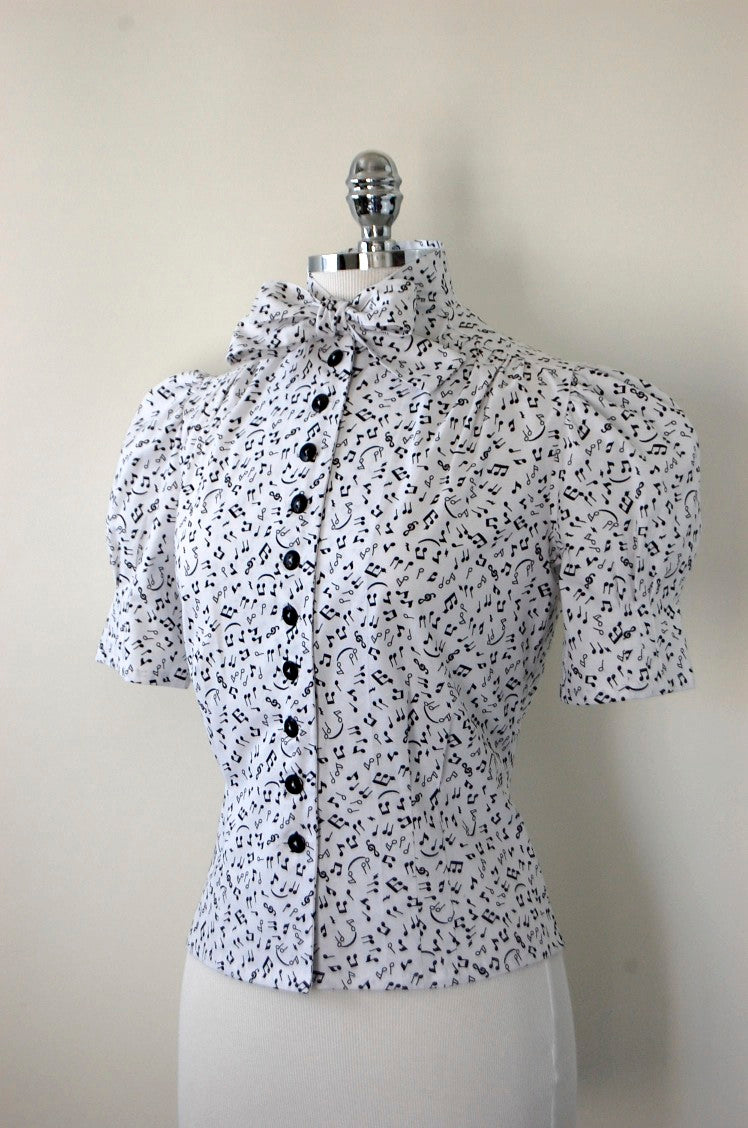 "Jitterbuggin' Late 1930s Style Irving Blouse in ""Melody"" Music Print"