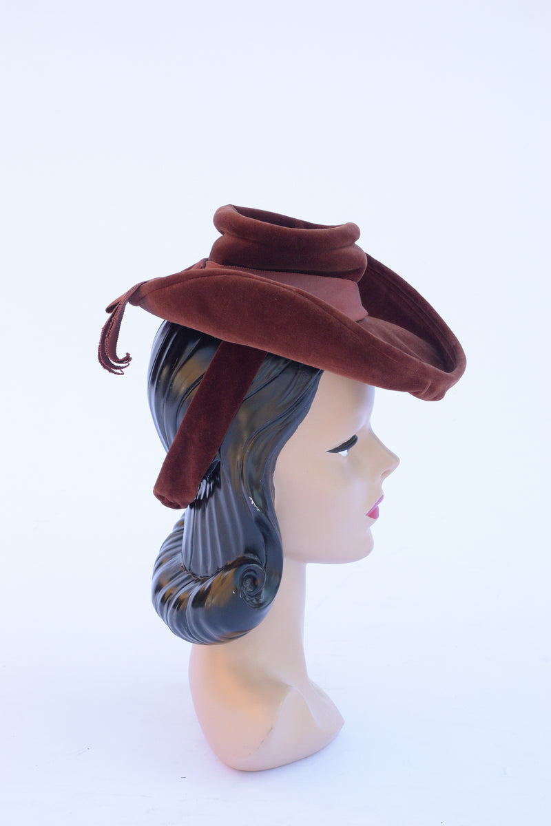 High Drama 1940s Velveteen Hat with Stylized Crown and Upturned Brim