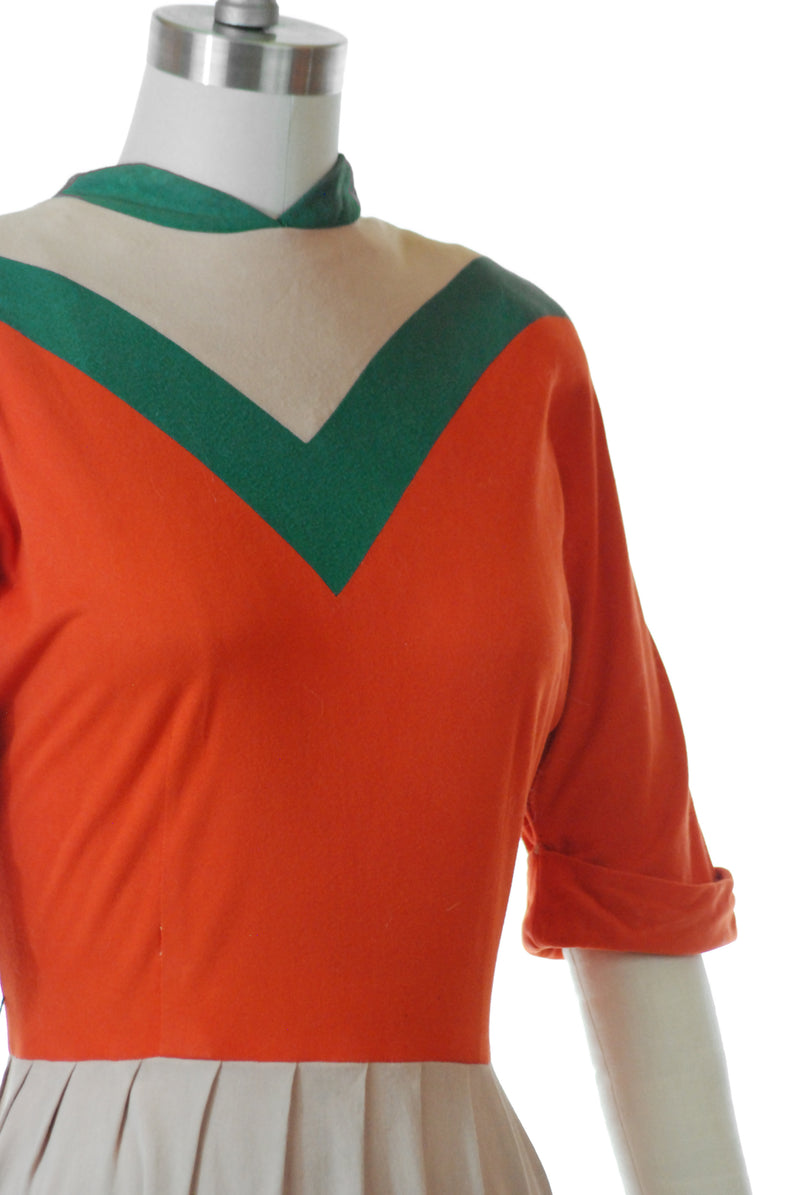 Bold Late 1950s Colorblock Jersey Day Dress in Orange, Beige and Deep Green
