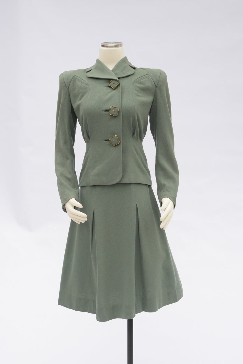 RESERVED Beautiful  Late 1930s/Early 40s Spruce Green Tailored Wool Suit with Huge Buttons and A-Line Skirt