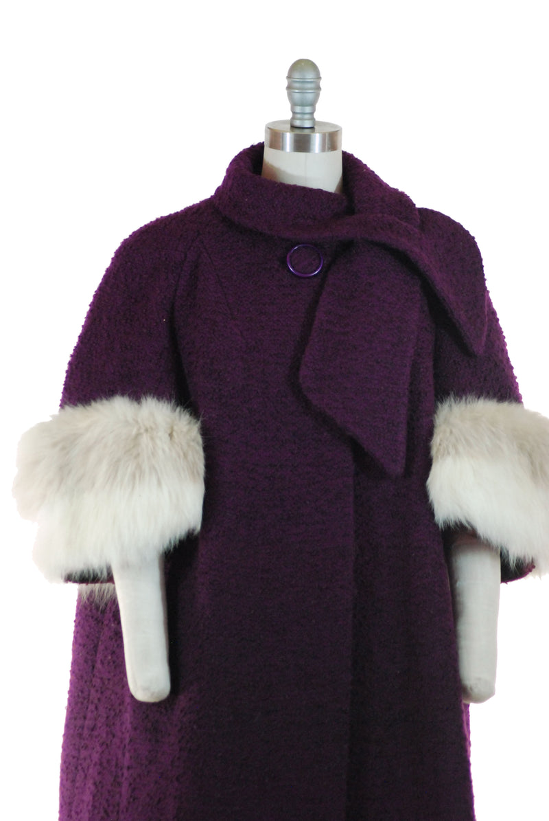 Gorgeous 1960s Trapeze Coat in Plum Purple Tweed with Two Tone Fox Fur Cuffs