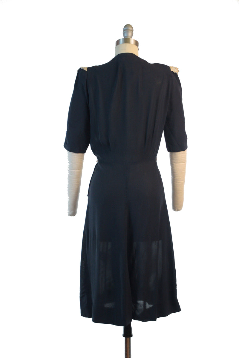 C. 1940 Navy Blue Crepe Lace New York Creations Dress with Eyelet Lace
