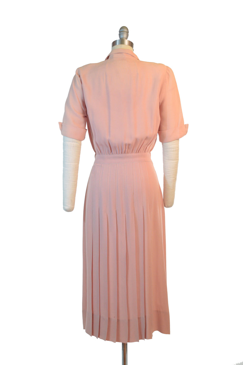 Charming 1940s Pink Rayon Day Dress with Buttons and Fantastic Shoulders As Is