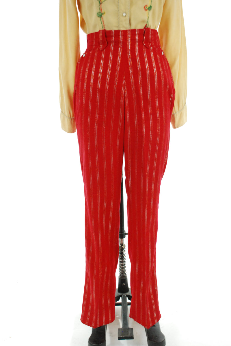 Killer 1950s Ladies Western Pants in Cherry Red with Gold Lurex Striping