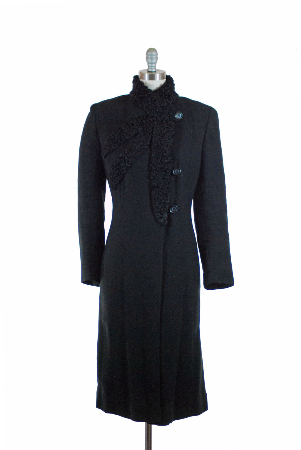 Sleek Mid 1930s Deco Era Coat of Black Wool with Asymmetric Astrakhan Lamb Trim XL