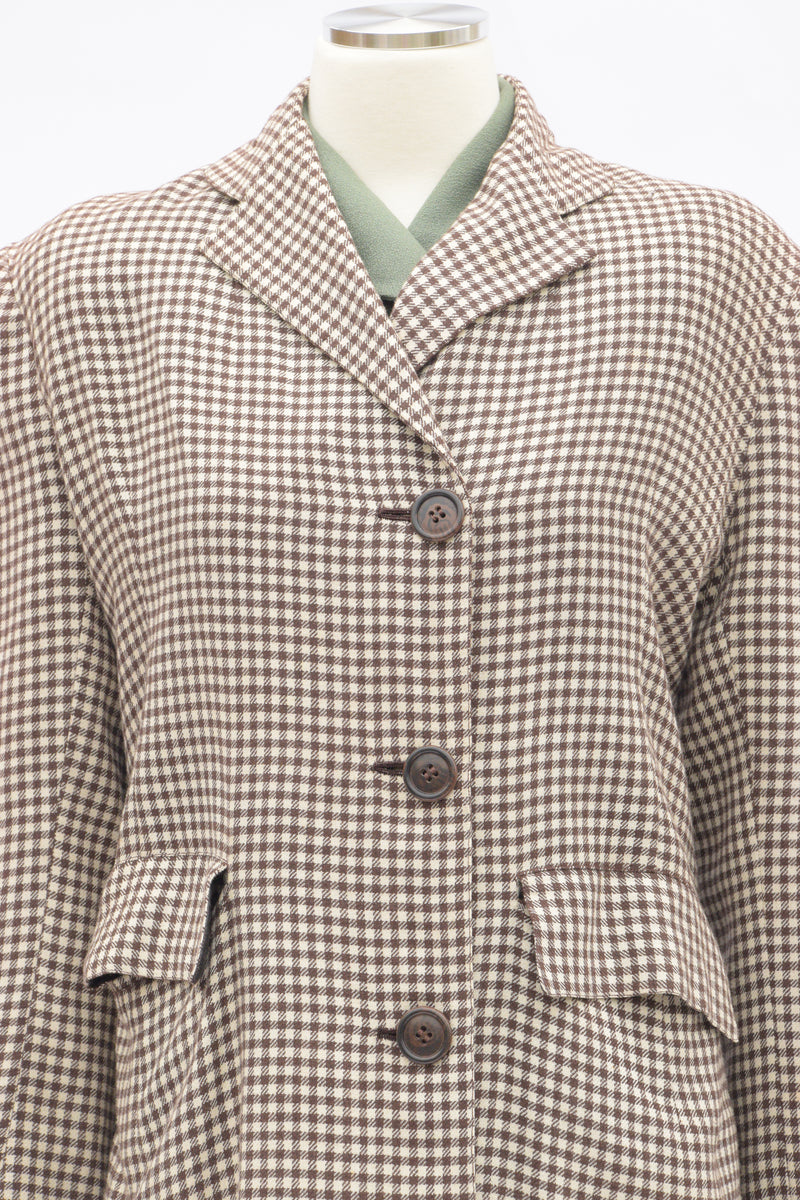 Smart 1940s Checkered Brown and White Lightweight Autumn Coat with Huge Pockets