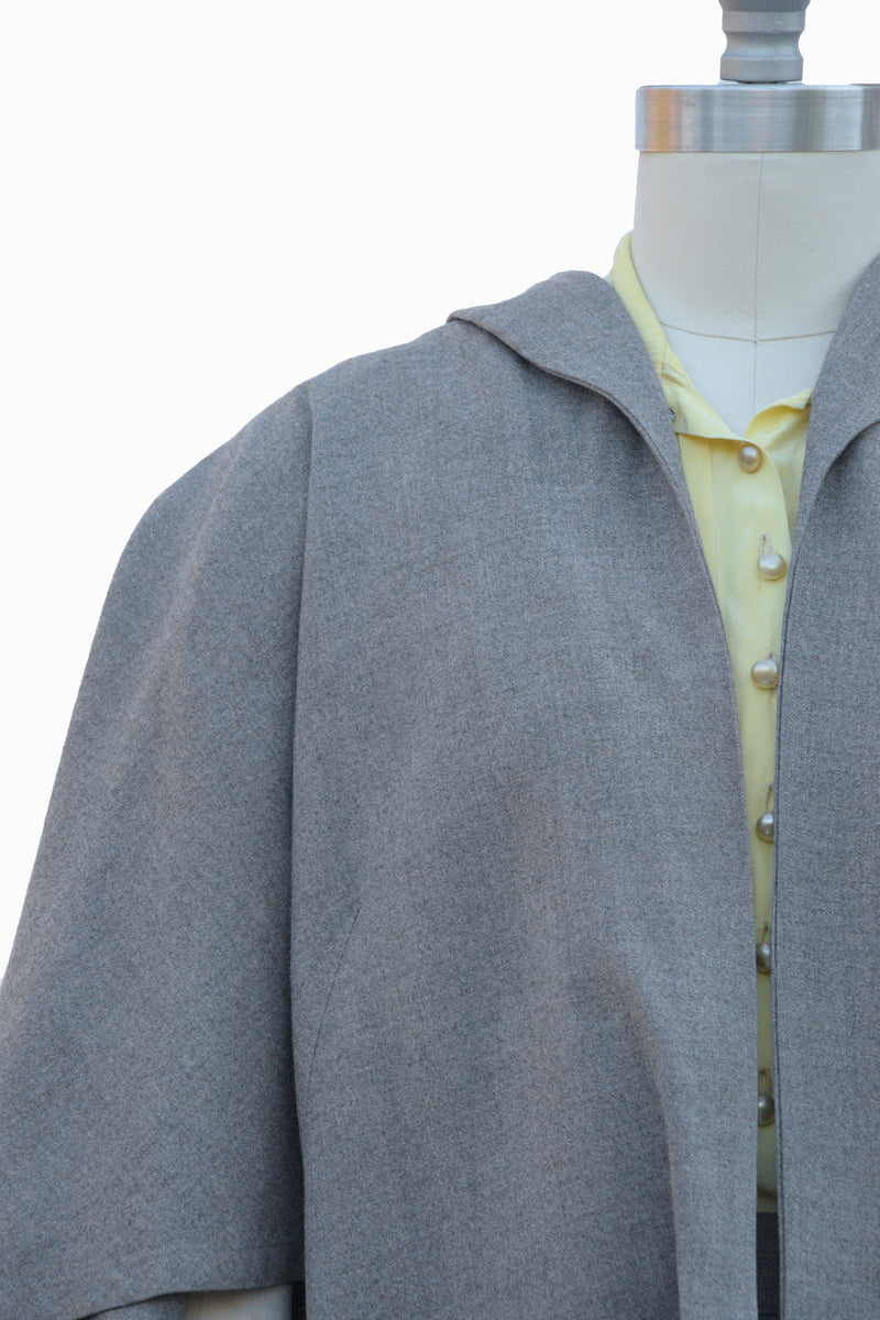 Smart 1950s Heather Gray Wool Cape Skirt Suit