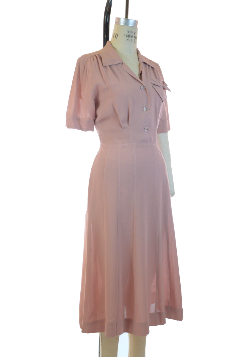 Charming 1940s Pink Rayon Day Dress with Gored Skirt and Clever Pocket