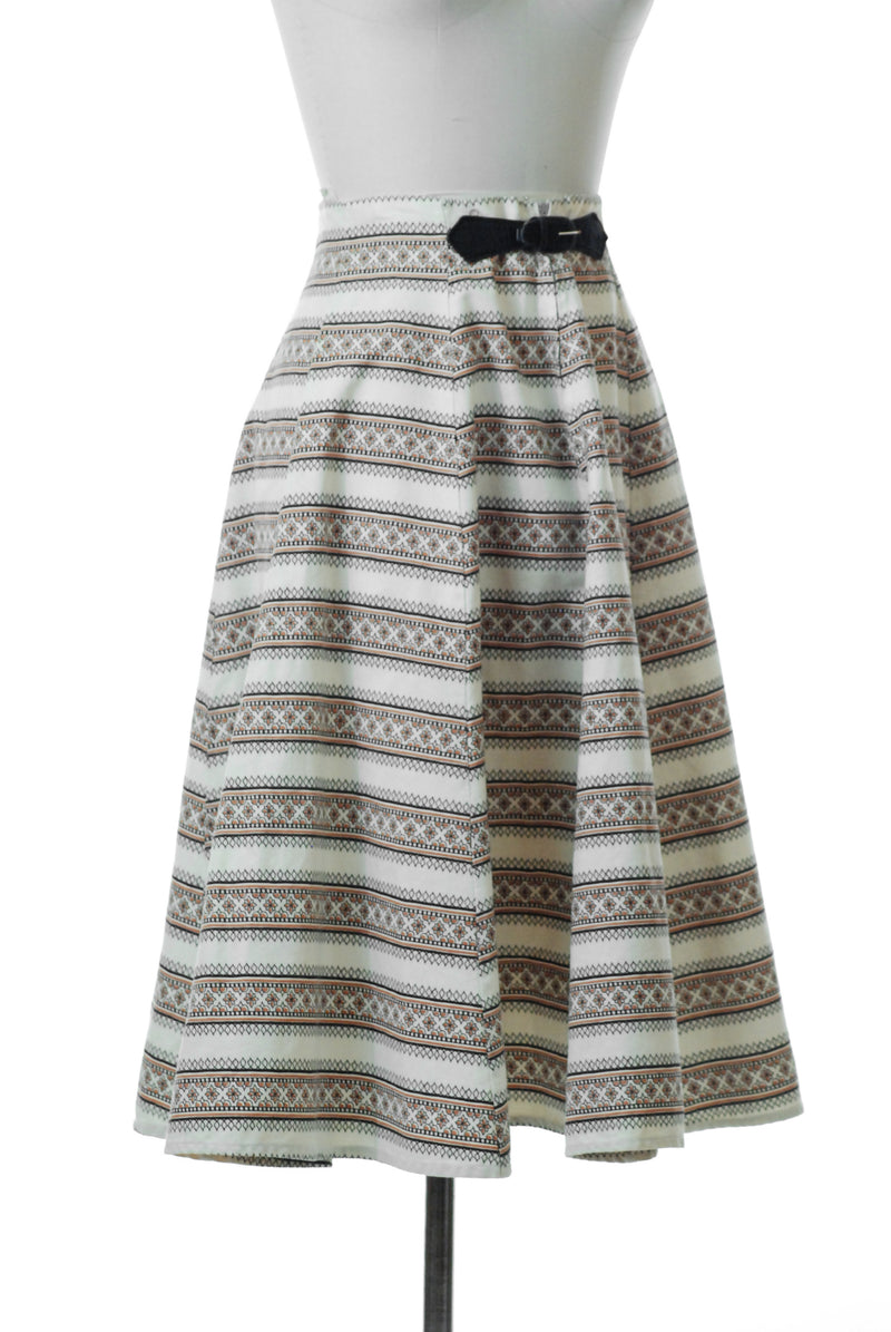 Sporty 1950s Printed Skirt of Sturdy Cotton Sailcloth with Belt Accent