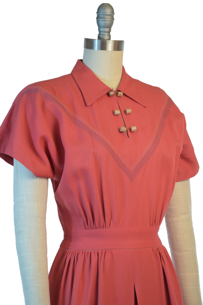 Saturated 1940s Coral Gabardine Day Dress with Top-stitched Chevron and Celluloid Buttons