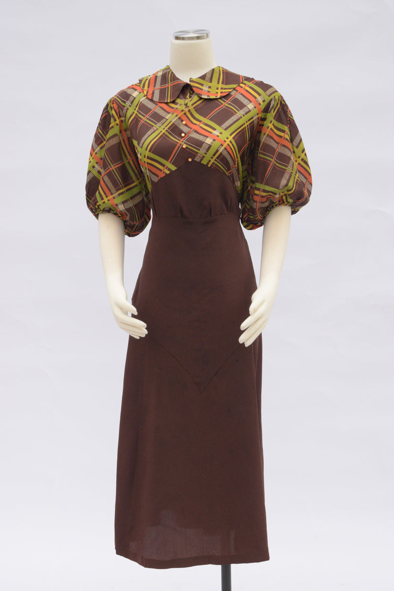 Rich 1930s Autumal Dress in Crisp Faille with Plaid Bodice and Solid Brown Skirt, Homemade