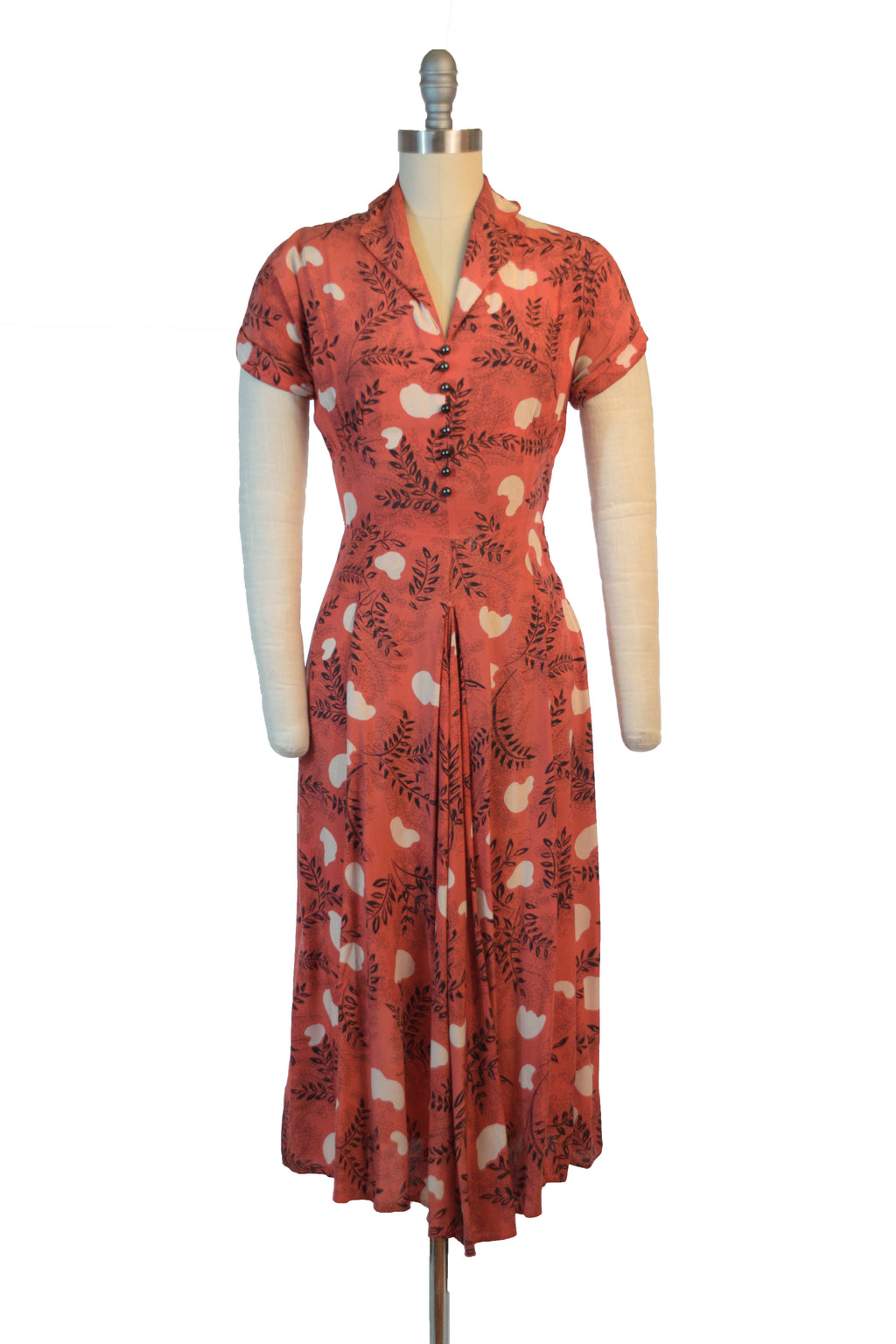 Smart 1950s Coral Day Dress with Fern Frond Print As Is
