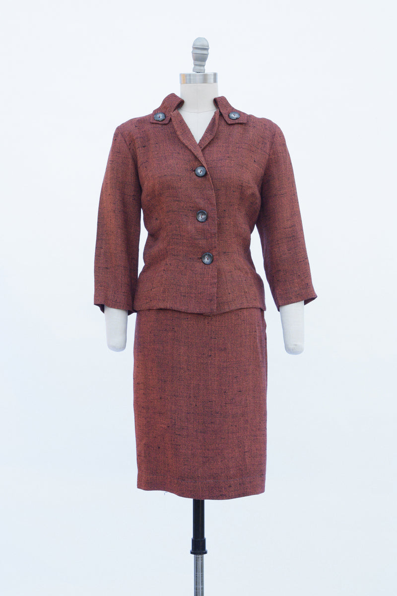 Sassy 1960s check Copper Cropped Jacket Suit