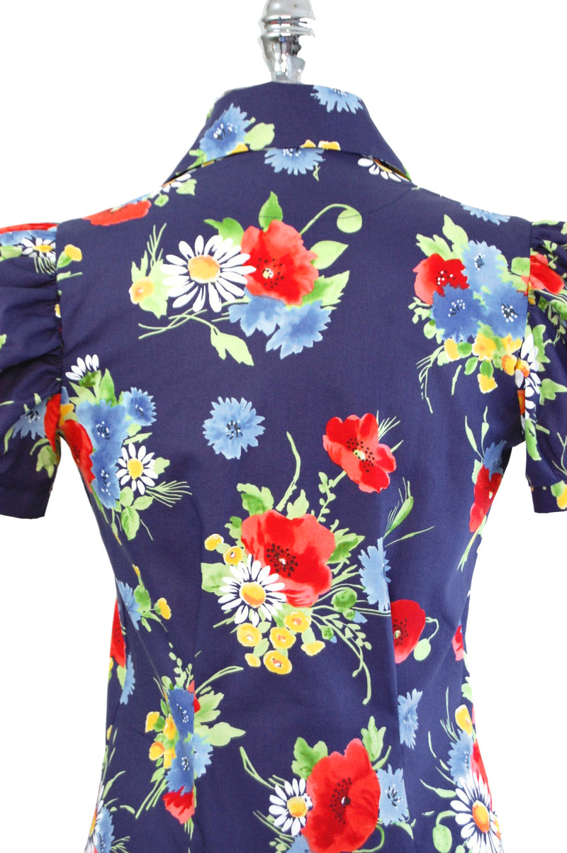 Jitterbuggin' Late 1930s Style Puff Sleeve Nicolai Blouse in Garden Party Floral