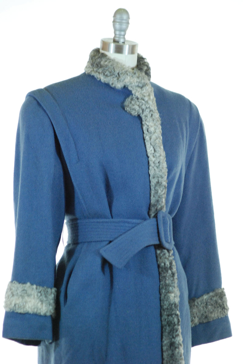 Fab 1940s Belted Half-Length Coat in Periwinkle Blue Wool and Grey Astrakhan Lamb Trim