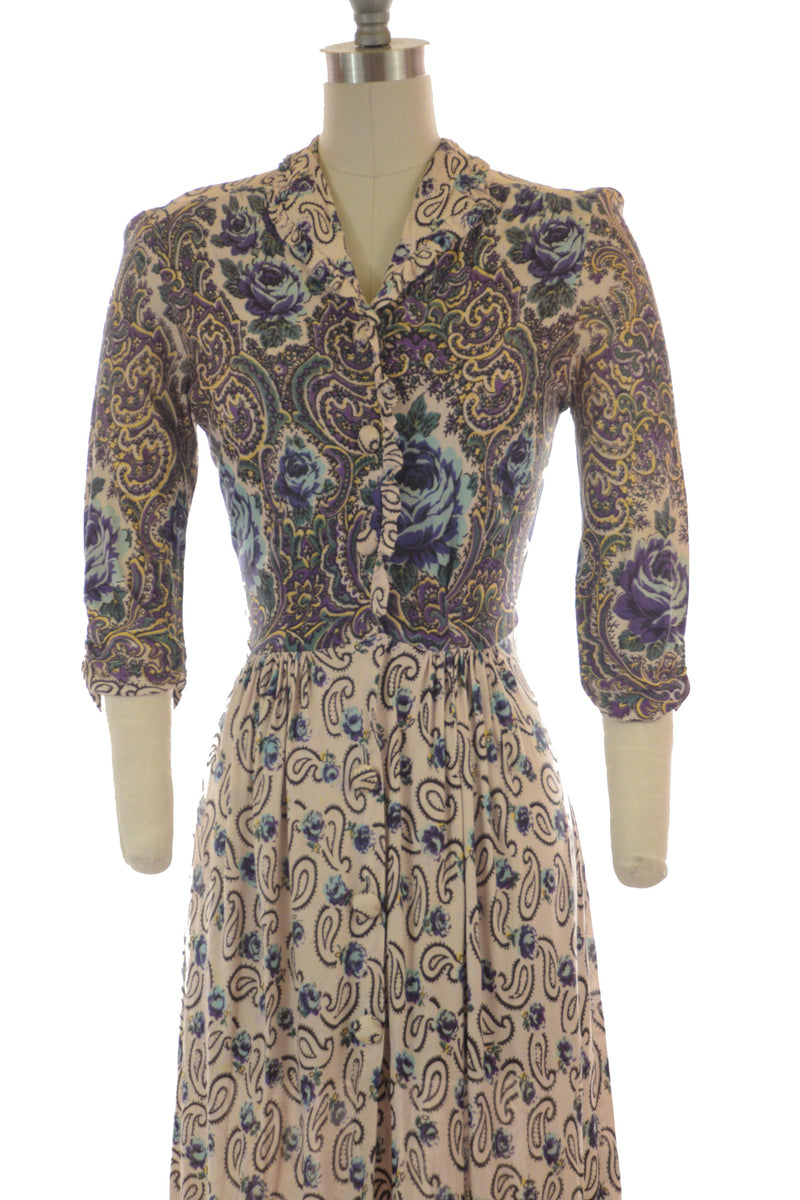 Lush 1940s Paisley and Roses Rayon Jersey Dressing Gown with Border Print