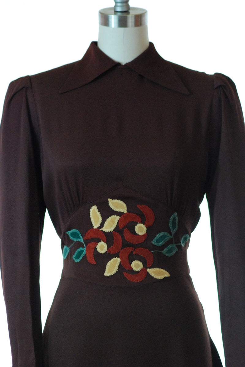 Exceptional 1930s Rayon Dress of Dark Brown with Appliqued Midwaist