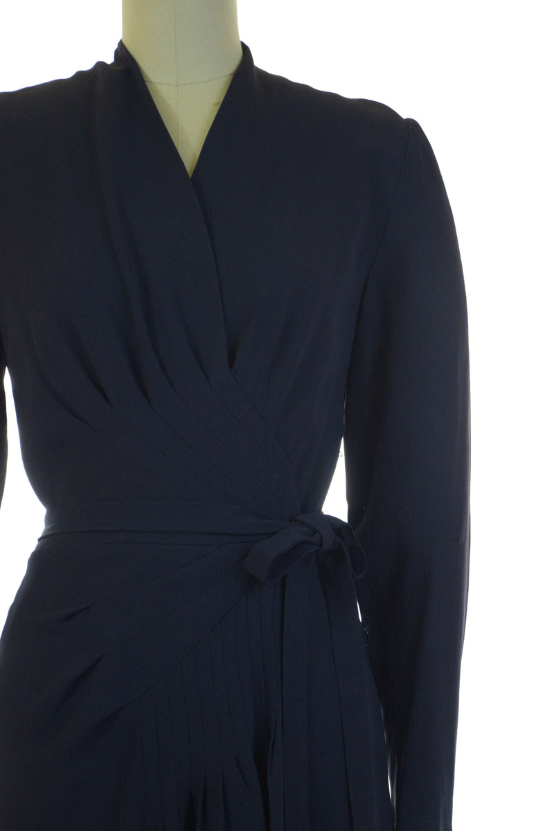 Gorgeous 1940s Draped Navy Blue Rayon Crepe Cocktail Dress