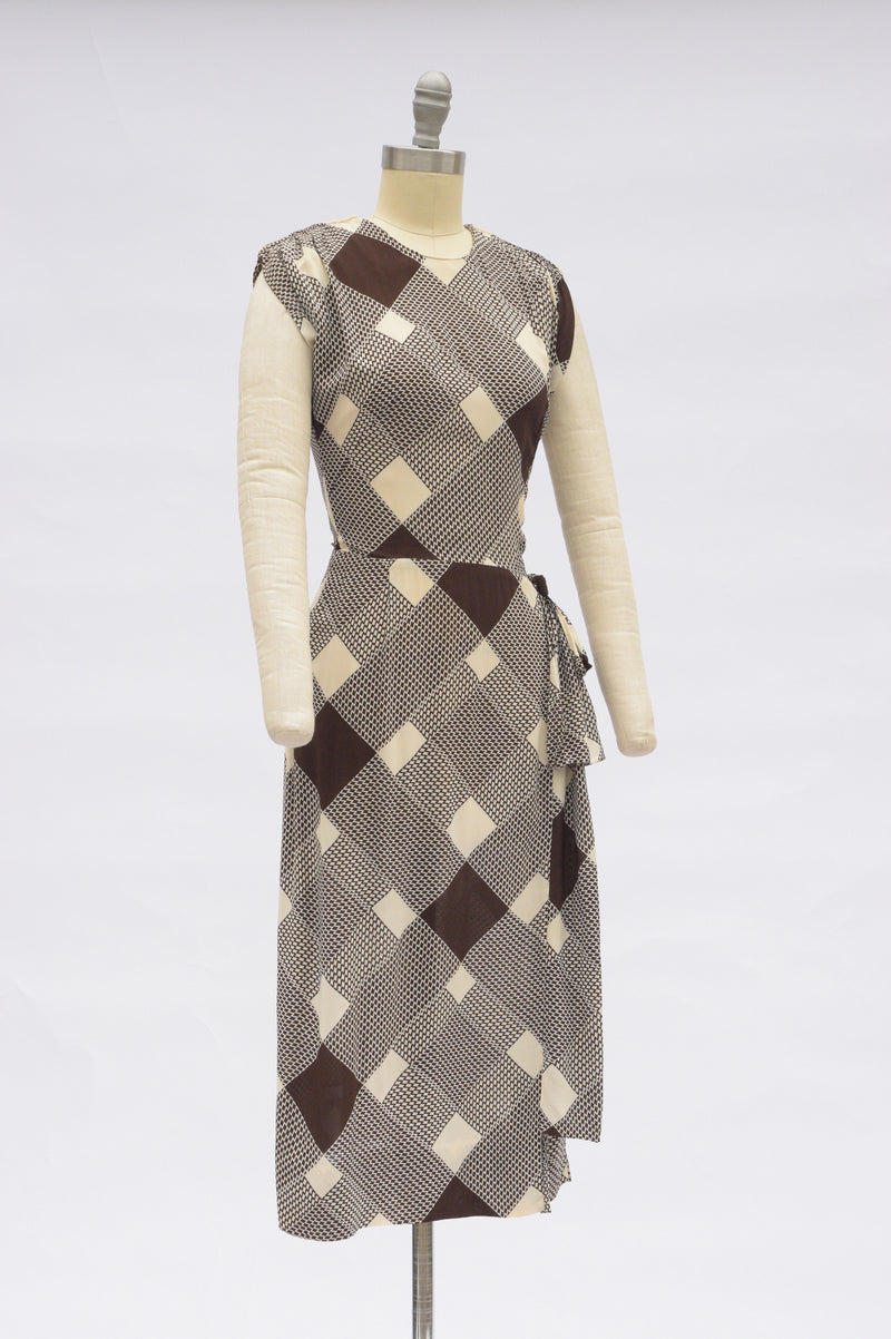 "Flowing Rayon 1940s Day Dress in Unique Bias Cut Zig-Zag ""Plaid"" with Side Drape"