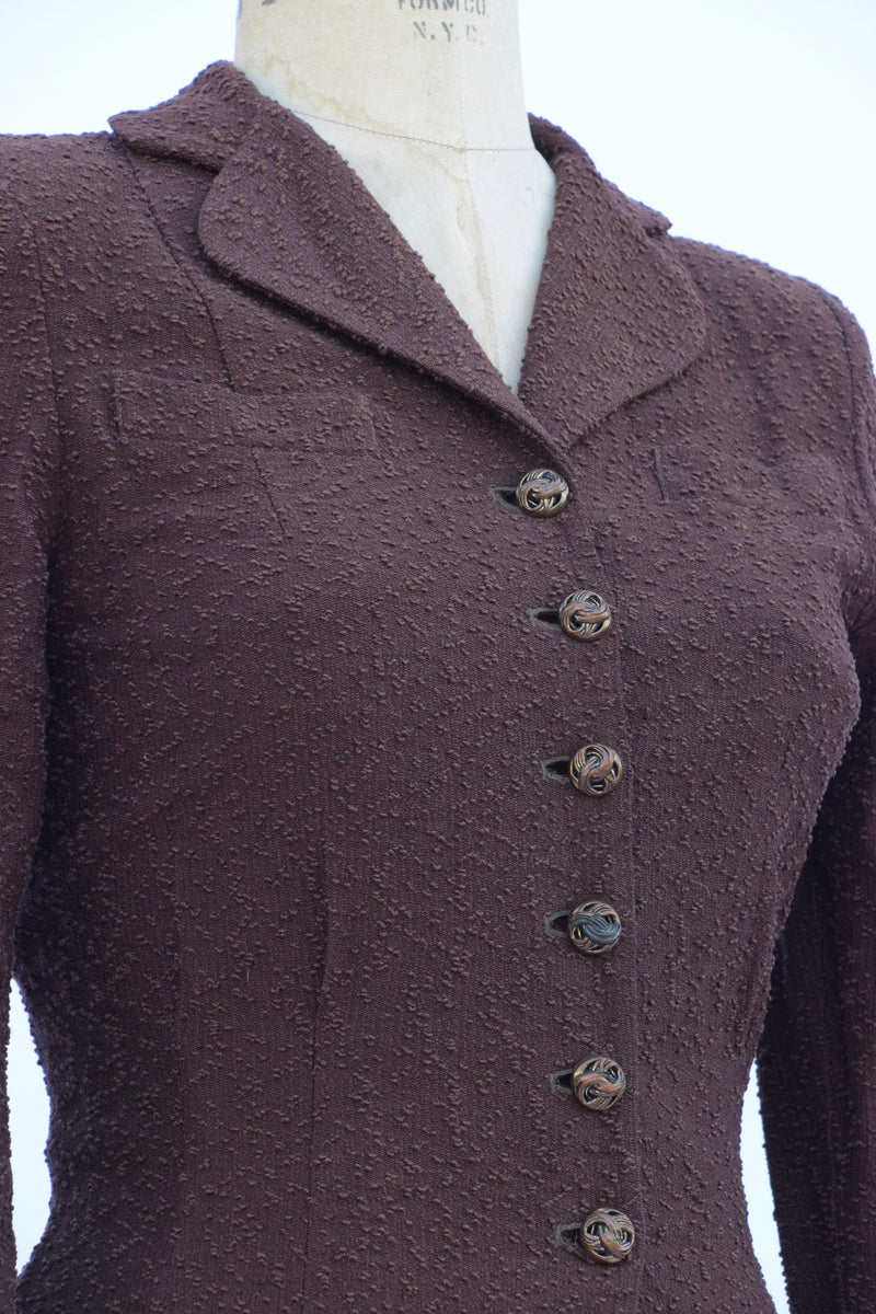 Remarkable 1940s Textured Dark Brown Nubby Knit Skirt Suit