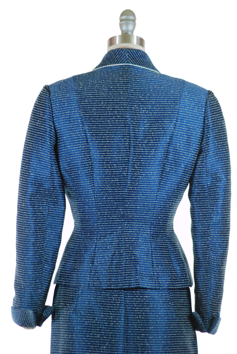 Lustrous 1950s Blue Pinstriped Lilli Ann 50s Skirt Suit with Dramatic Silhouette