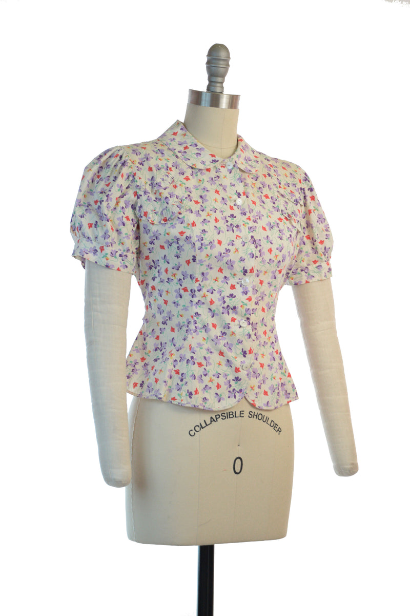 Springy Late 1930s Puff Sleeve Floral Blouse with Self-Fabric Ties