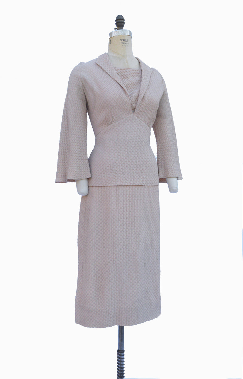 Majestic 1930s Dobby Crepe Textured Oatmeal Dress with Peplum