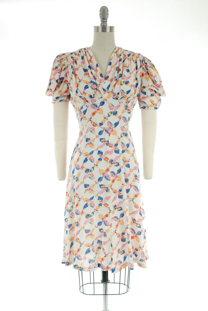 "Vintage Late 1930s Semi-Sheer Day Dress with Colorful Leaf-Print ""Plaid"""
