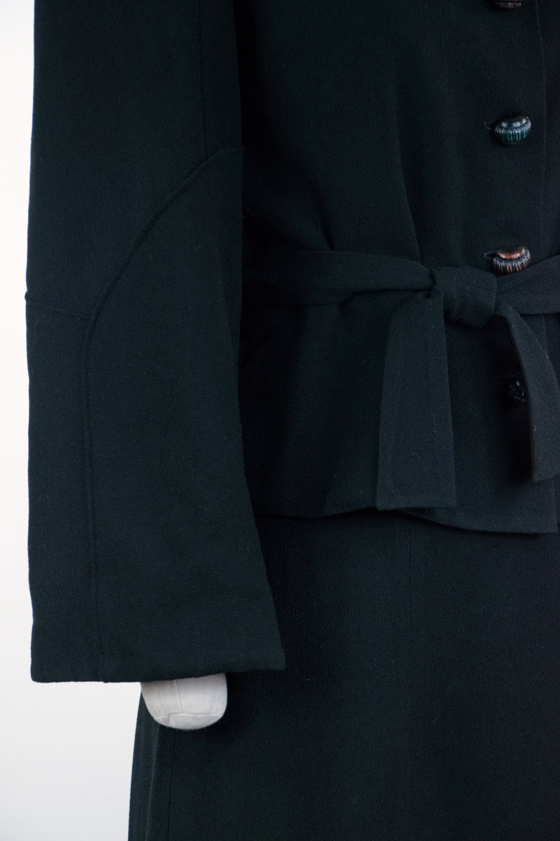 Gorgeous Early 1940s Three Piece Suit in Black Wool Crepe - Skirt, Jacket and Coat