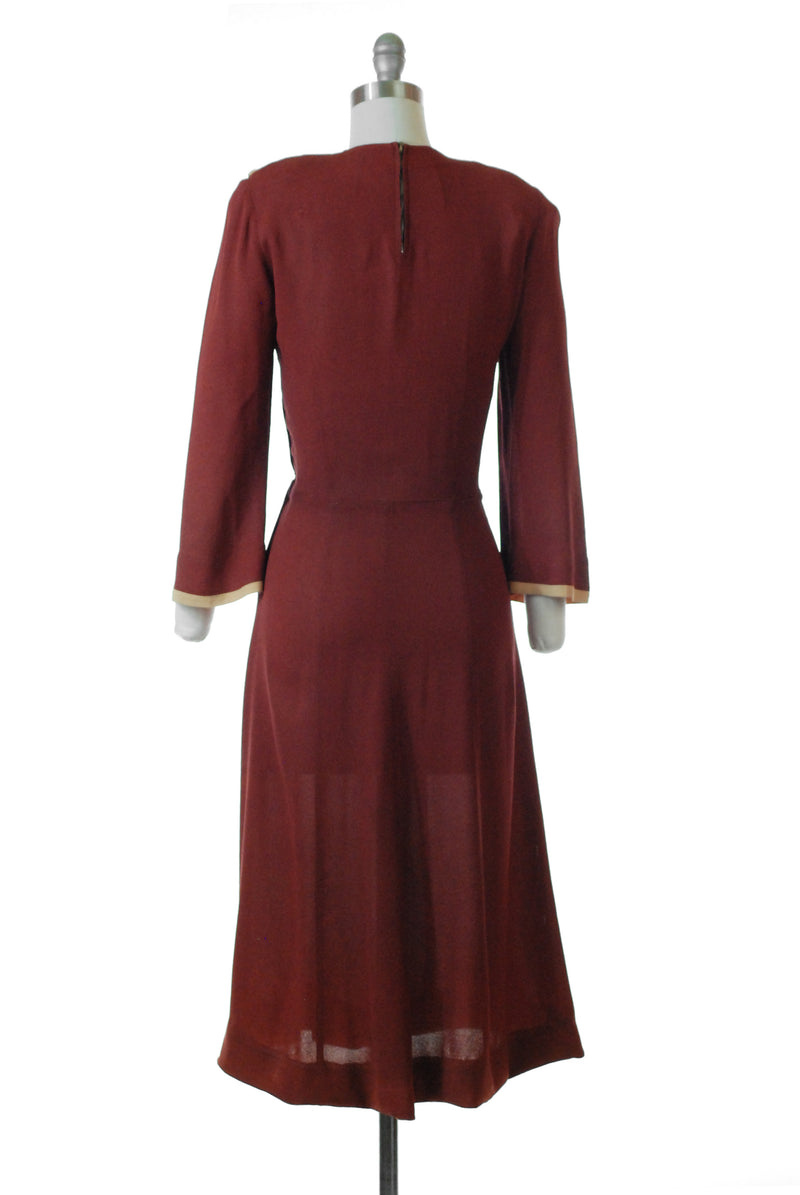 Sophisticated 1940s Rust Colored Rayon Dress with Mustard Colorblock Draping